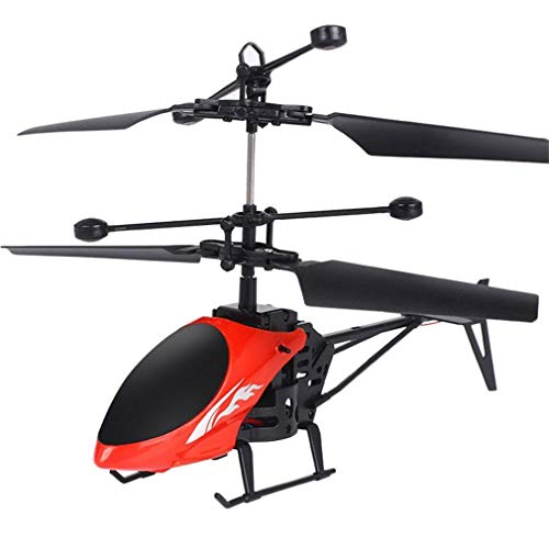 SUKEQ RC Helicopter, 2 Channel Gyro Mini Infrared Induction Remote Control RC Drone RC Toy, for Kids and Adults (Red)
