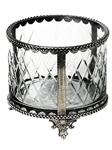 Caixa Redonda Vidro Com Nickel Sarquis Samara Prata