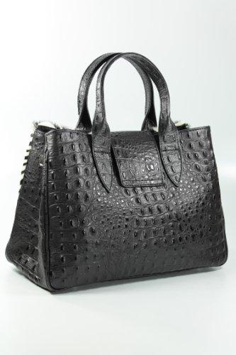 Design by Belli limitierte und exclusive ital. Echt Leder Fell Handtasche schwarz Kroko Prägung - 36x25x18 cm (B x H x T)