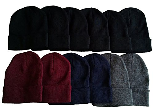 12 Winter Toboggan Beanie Hats by excell Thermal Sport Mens Womens, Assorted (Hats For Wholesale)