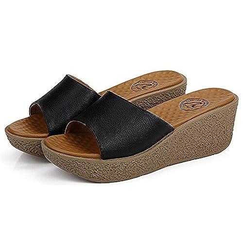 55b709a1825 80%OFF Sellwend Women s Platform High Heel Wedges Sandals Simple Slippers  Active demand