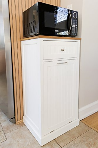 SpaceMaster SM-CMC-800 Freestanding Microwave Kitchen Cart with Trash Can Holder and Bamboo Cutting Board, White