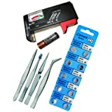 Watch Repair Kit Battery Tester Tweezers Button Cell Battery Pack Tool Set Combo