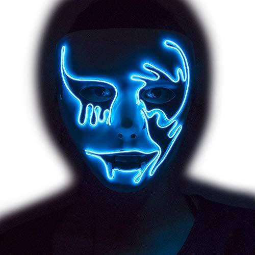 LED Light up Halloween Scary Mask (Blue)