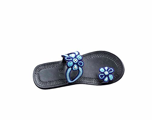perfection in progress Flipflops Sandals for Women, Women's Shoes for Summer, Flat Comfortable Maasai Sandalias de Mujer(Dazzling Blue) (7) ()