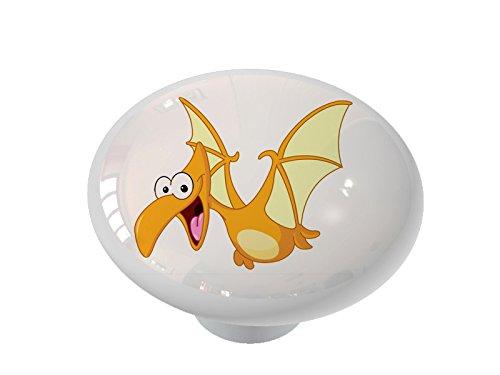 (Little Orange Flying Dinosaur Ceramic Drawer Knob)