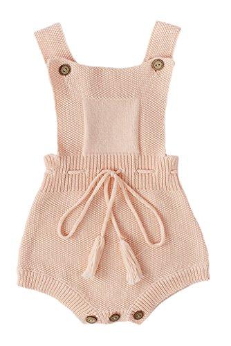 Pinleck Newborn Baby Girls Knit Stripe Strap Romper Tie Waist Cute Jumpsuit Bodysuit Pink -