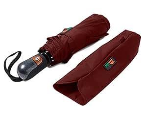 Umenice Automatic 9-Rib Travel Umbrella Windproof 210T Fabric Red