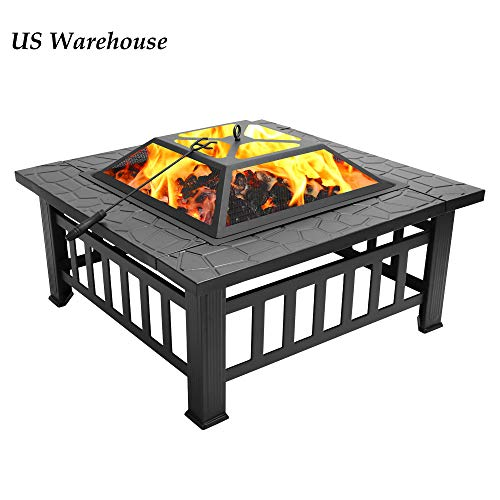Teekland 32'' Backyard Patio Garden Stove,Outdoor Fire Pit Table,Fire Pit Set,Wood Burning Pit,Multifunctional Patio Backyard Garden Fireplace Heater/BBQ/Ice Pit with Spark Screen,Log Poker and Cover (Fire Used Pit Table)