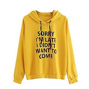 XOWRTE Long Sleeve Hoodie Sweatshirt Women Hooded Pullover Blouse O Neck Letter Print Black Yellow Pink Top