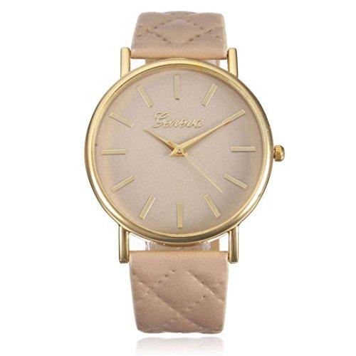 Franterd® Damen-Armbanduhr Elegant Uhr Modisch Zeitloses Design Klassisch Leder Römische Ziffern-Leder-analoge Quarzuhr Armbanduhr Beige