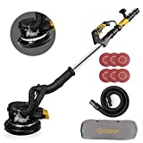 Drywall Sander, Ginour 6A Electric Drywall Sander with Automatic Vacuum System, 6 Variable Speed, LED Light, 6Pcs...