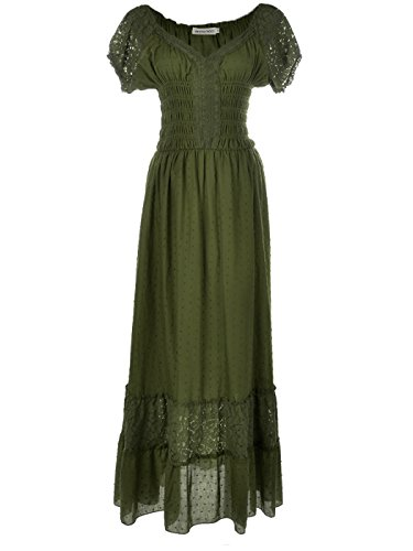 Anna-Kaci Peasant Maiden Boho Inspired Cap Sleeve Lace Trim Maxi Dress, Olive Green, Small]()