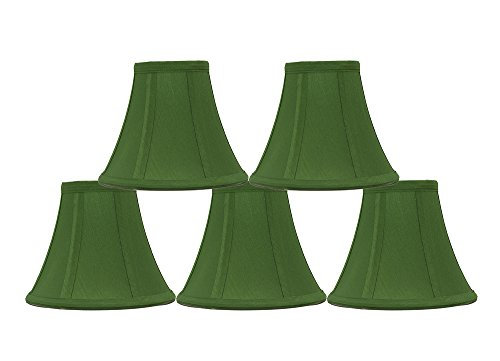 Urbanest Set of 5 Kelly Green Silk Bell Chandelier Lamp Shade, 3-inch by 6-inch by 5-inch, Clip-on