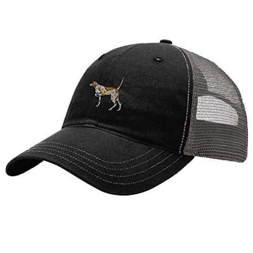 German Shorthaired Pointer Hat - Trucker Hat Richardson German Shorthaired Pointer Embroidery Dog Name Cotton Soft Mesh Cap Snaps - Black/Charcoal, Design Only