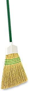 """product image for Libman Commercial 101 Traditional Corn Broom, 100% Natural Broomcorn, 11"""" Wide, Steel Handle (Pack of 6)"""