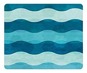 Brain114 Customized Rectangle Rubber Mousepad Blue Wave Strip Pattern High Quality Water Resistent Oblong Soft Gaming Mouse Pads