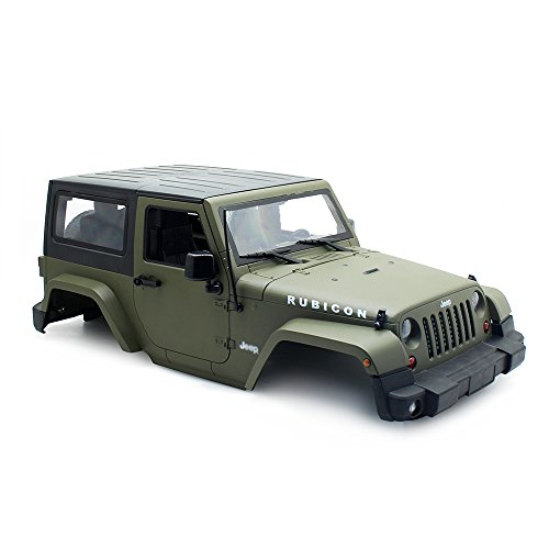 Olive Green RC Rock Crawler 1:10 Jeep Wrangler Rubicon Car Shell for Axial SCX10 Tamiya CC01 D90 Hard Plastic Car Body