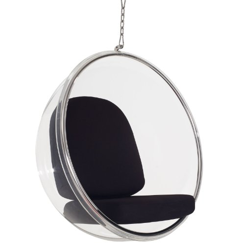Modway Eero Aarnio Style Bubble Chair With Black Pillows by Modway