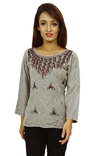 Rayón manga larga Mujeres top del verano ropa de sport de la túnica de la impresión floral Gris y marrón