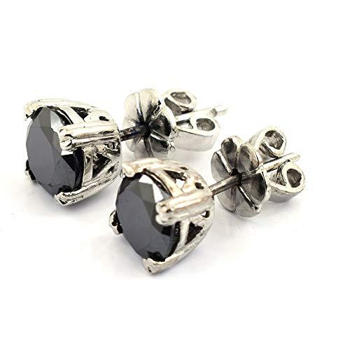1.25 Ct Certified Diamond - skyjewels Certified 1.25 Carat Each Round Black Diamonds Beautiful Studs Earrings in 925 Sterling Silver