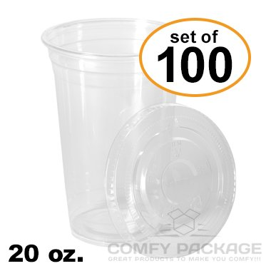 COMFY PACKAGE 100 Sets 20 Oz. Plastic CR - 20 Clear Cold Drink Cups Shopping Results