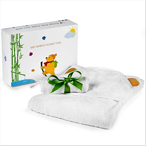 (100% Organic Bamboo Hooded Baby Towels from iTooties - Premium Wash Cloth Included - Ultra Absorbent 500 GSM Perfect for Keeping Your Precious Little One Warm and Dry - Ecofriendly Durable Bath Towel)