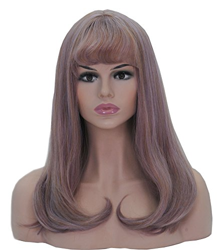 HI GIRL Halloween Party Wig Shoulder Length with Flat Air Bang Brown Tone with Light Purple Mixed Synthetic Hair Natural Wig for Daily Wearing Cosplay