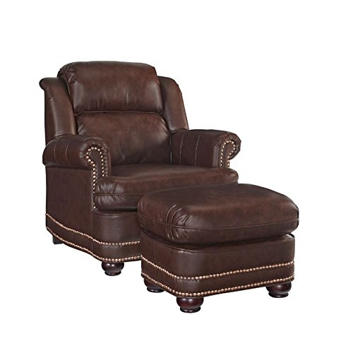 BOWERY HILL Faux Leather Club Chair with Ottoman in Brown