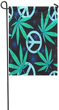 Vooft Double Sided Garden Flag Colorful Hippie Cannabis Leafs and Peace Symbol Blak Green Rasta Sign Weed Drug 28