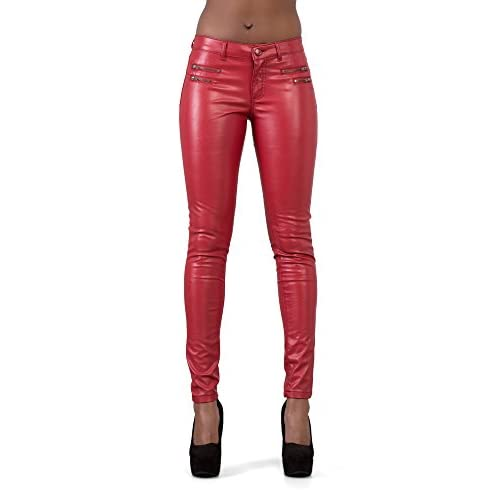 fd9be71c826388 Lusty Chic New Black   Red Women s PU Skinny Fit Style Faux Shiny Biker Leather  Pants