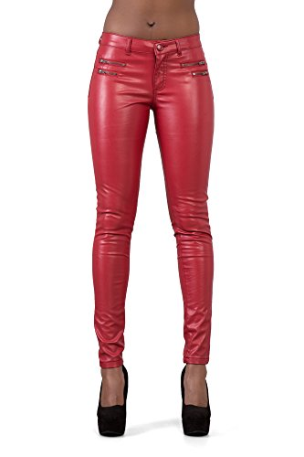 LustyChic Womens Leather Look Trousers Slim Fit Ladies Stretch Skinny Jeans Size UK 8-16 Red Pu Shiny