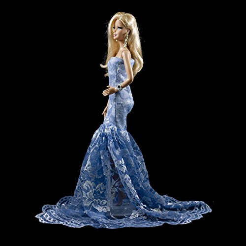 Blue Multitextured Lace Strapless Gown Blue Long Dress Fits for Barbie Doll (Lace Barbie)