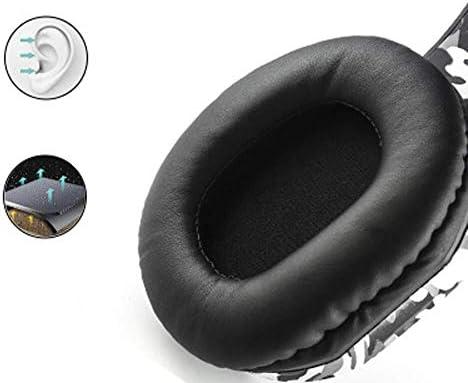 RENKUNDE 迷彩ケーブルゲームヘッドセットヘッドマウント快適に着用ヘッドセットデュアルオーディオ音質のイヤーパッドで調整可能 ゲーミングヘッドセット