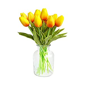 "Packozy 20 pcs PU Real-Touch Artificial Tulip Flowers 13.3"" for Home Wedding Party Decor 36"