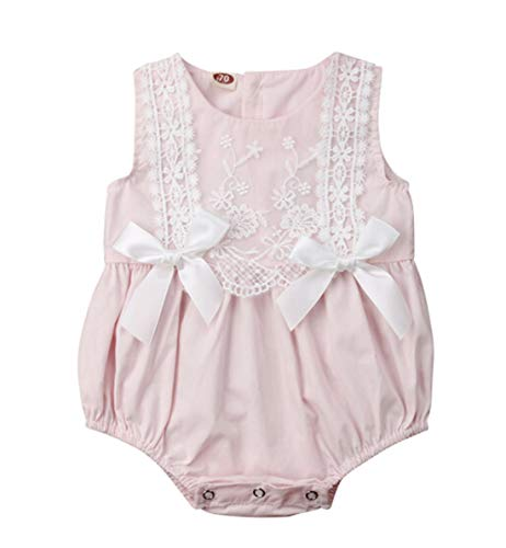 Newborn Infant Baby Girl Bodysuit Clothes Sleeveless Lace Bow Romper Outfit Summer (Pink, 18-24M)