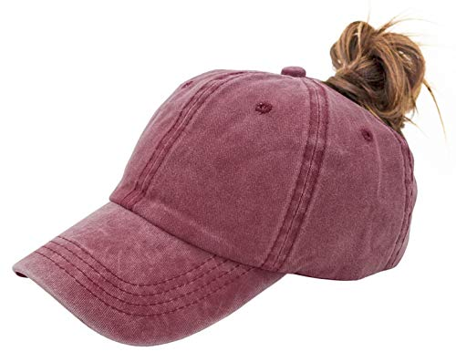 YCMI Washed Mesh Ponytail Hat Distressed Women Baseball Cotton (Wine Red 2, Adjustable)