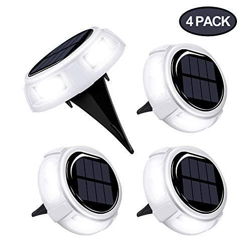 Albessel Solar Deck Lights Outdoor Waterproof,Solar Lights Lawn Outdoor Pathway,Patio Ground Lights Outdoor Solar-4 Pack