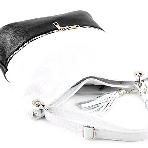 de de bolso Schwarz cuero cuero T143 ital señoras modamoda del bolso bolso de de bolso hombro de del Weiß del dtpqRwC