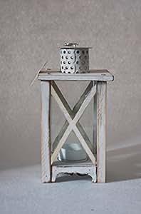 Farol Madera Farol Shabby Style con teelichthalterung rectangular gris