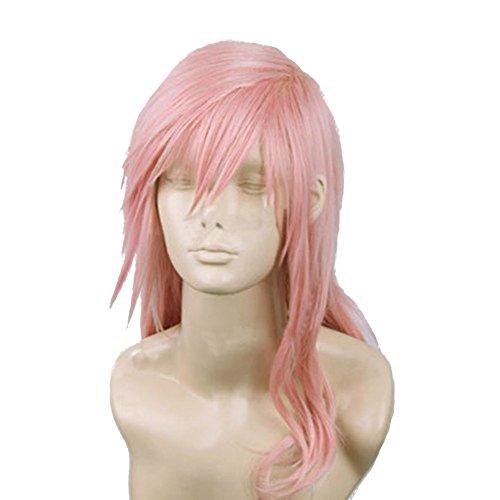 Pink Long Costumes Wig Set (Xcoser Final Game Fantasy Lightning Long Purplish Pink Cosplay Wig for Halloween)