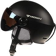 Ski Helmet, Snowboard Helmet with Goggles Integrated Snow Sports Snowboard Helmet for Men Women, 4 Colors, M/L