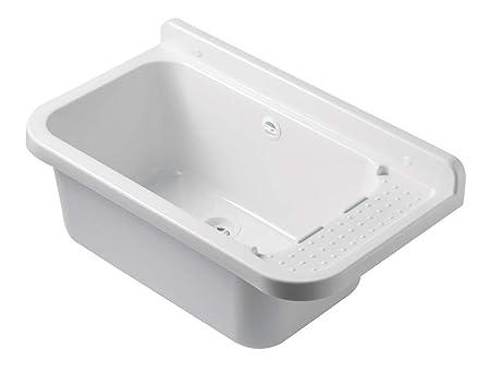 Waschbecken Ausgussbecken 50 cm x 34 cm x 21 cm Spülbecken Waschtrog mit Überlauf Waschbecken für Gewerbe Waschraum Garten in