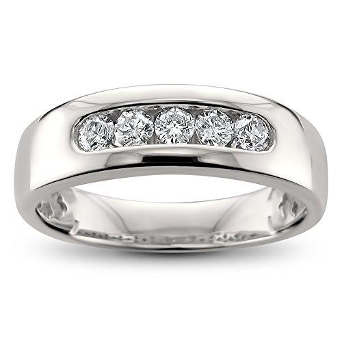 14k White Gold 5-Stone Round Diamond Men's Comfort Fit Wedding Band Ring (1/2 cttw, H-I, I2-I3), Size 9