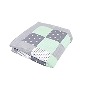 ULLENBOOM® Baby playmat– Mint Grey (100 x 100 cm Baby Comforter Blanket, Great in The Pushchair or as a playmat; Motifs: Stars)
