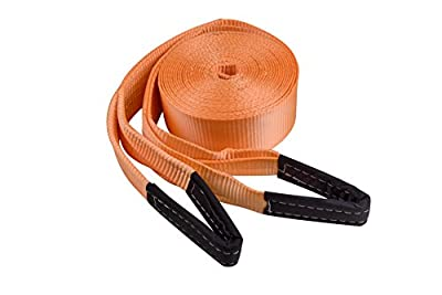 """RELIABLESLING 3.2"""" X 33' Heavy Duty Recovery Tow Straps, 20000 Lb Capacity,Recover Vehicle Stuck in Mud/Snow Winch Snatch Strap-Protective Loops,Extra Long 33' Safe Distance Tow Strap"""