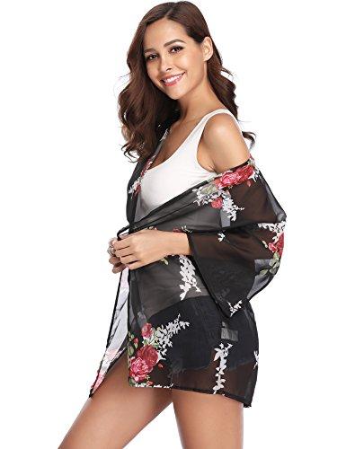 En Kimono Fleuri Fleurie Type Imprimé Pareo Léger Veste Plage 2 Cardigan 3 Été Gilet Noir Mousseline Fluide Casual 4 Caftan Ample Soie De Poncho Femme Manche Ourlet Bohème 1EnqwFd
