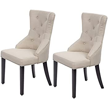 8e207e3127a3 Dining Chairs Fabric Dining Chairs Dining Room Chair with Solid Wood Legs  Set of 2