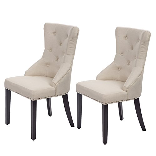 Dining Chairs Fabric Dining Chairs Dining Room Chair With Solid Wood Legs Set of 2