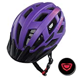 LANOVAGEAR Adjustable Youth Adult Bike Mountain Road Cycling Helmet with Rechargeable LED Safety Light Safety Protection CPSC Certified for Men Women with Detachable Visor (Purple, L) Review